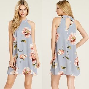 CAROLINE Floral Mini Dress - GREY
